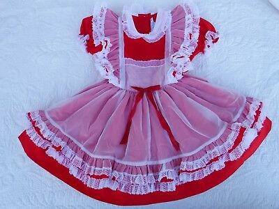 Vintage Betty Oden Girls Dress Frilly Red Full Skirt 5T California USA