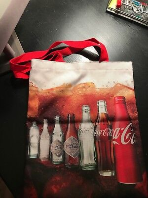 COCA COLA VINTAGE BOTTLES TOTE BAG with Red Handles - NEW