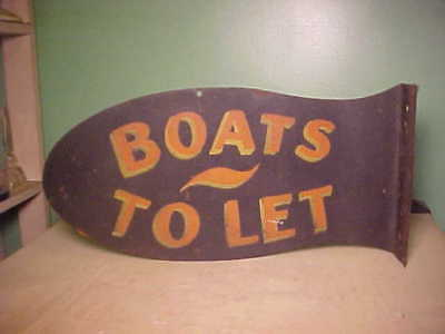 1890's Antique Nautical Boats To Let Sign From Gales Ferry Connecticut