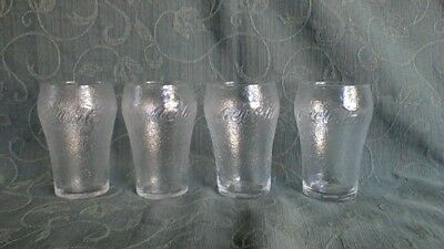 4 Rare Collectable Frosted Dimpled Coca Cola Glasses