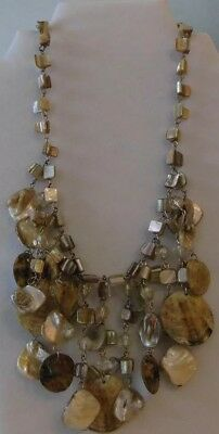 LANE BRYANT Necklace Mother of Pearl MOP Shell Statement Bib Signed Hang Tag
