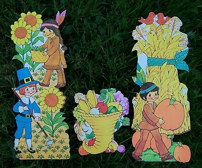 Vintage Die Cut Cardboard THANKSGIVING Decorations PILGRIMS INDIANS Fall Harvest