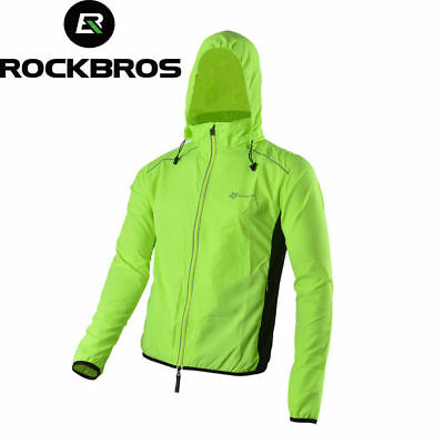 ROCKBROS Cycling Outdoor Sport Hiking Jersey Wind Coat with Hood Cap Green