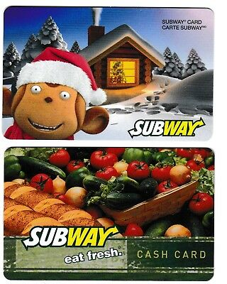 2 collectible SUBWAY gift card cards #03 SUB vegetables arrow Christmas New Year
