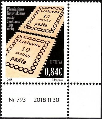 LITHUANIA 2018-17 First Postage Stamp Centenary. Data-CORNER, MNH