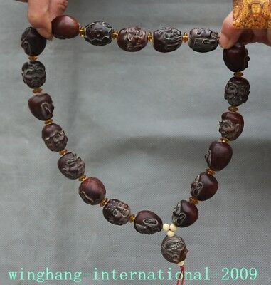 Old Chinese Ox Horn Carved 18 Arhat head Bracelets necklace Pendant Buddha bead