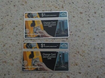Set of two (2) New York Telephone Change Cards Complimentary $1 each - unused