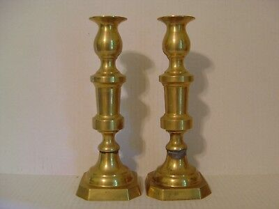 "Vintage Pair Of Large Brass Candlesticks 10-3/8"" High"