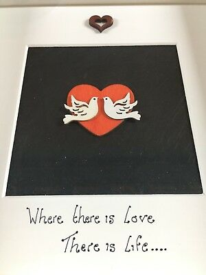 Love Doves  hand crafted Wooden art picture. box frame.