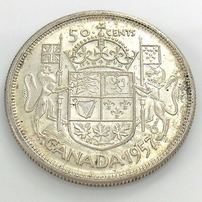 1957 Canada 50 Fifty Cent Half Dollar Silver Elizabeth II Circulated Coin I228