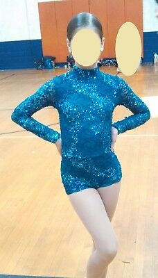 Kelle Dance Costume Jazz Solo Gym Lyrical One Piece Blue Sequence Size LC Great!