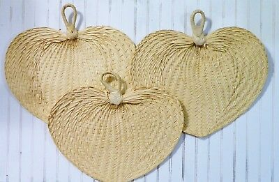 """Vtg/Hand Fans/Woven Palm Leaf/Natural/Large/16""""/Wall Decor/Tropical/BoHo Chic/ 3"""