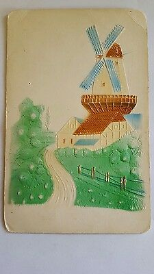 Vintage Antique Postcard Embossed Wind Mill Cottage Farm 1908 C10