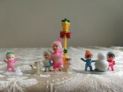 Vintage Miniature Plastic Xmas Carolers & Children in Snow Lot of 3 Hong Kong