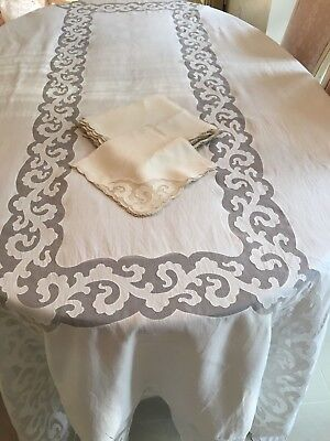 Vtg Embroidery Applique  Organdy Linen  Tablecloth s/12 Napkins  - EXQUISITE!