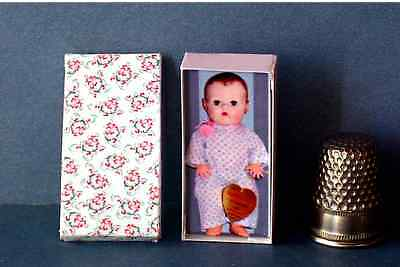 Dollhouse 1:12 Miniature Dy Dee Baby Doll Box 1950s retro dollhouse girl nursery