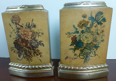 Pair of Vintage BORGHESE-Style Gilded Bookends w/Floral Pattern