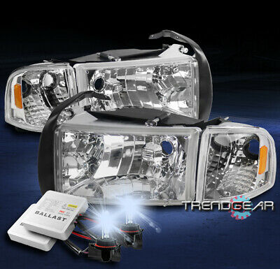 For 1994-2001 Dodge Ram Chrome Headlights Headlamp W/Corner Signal+8000K Hid Kit