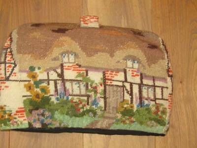 Lovely Vintage English Cottage Wool Work Tapestry Tea Cosy