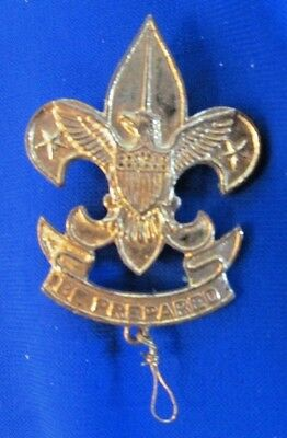 "BSA First Class Boy Scout Hat Badge, circa 1930s Pat ""1911"" Be Prepared on Pin"