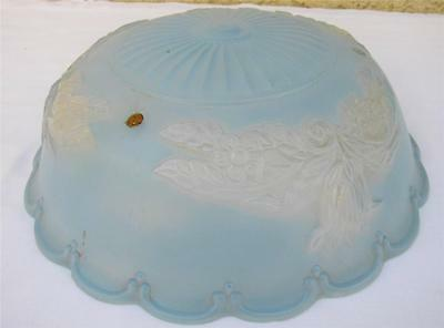 Vintage Art Deco Frosted Pressed Glass Ceiling Light Blue Shade 3 Hole l