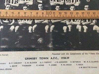 GRIMSBY TOWN AFC 1938-39 picture in ebonised frame, football club