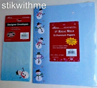 New SNOWMAN WINTER Premium Foil 15 Themed STATIONERY / PC PAPER AND 15 ENVELOPES