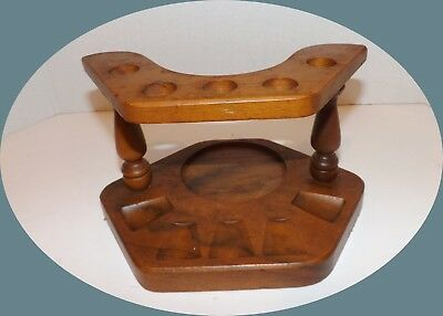 Vintage Wooden 5 Pipe Holder Stand With Space-Spot For Jar-Humidor