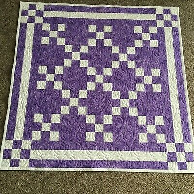 Handmade Baby or Toddler Quilt-Lavender Purple Dragonfly Irish Chain
