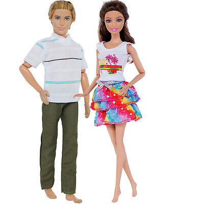 2 Sets Fashion Casual Blouses Pants Skirt Clothes Outfits For 12 in. Ken Doll