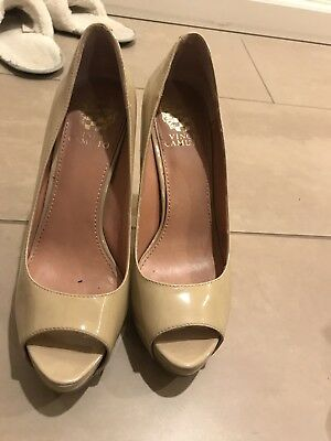f8be8592f40 VINCE CAMUTO Tan Patent Leather Platform Open Toe Pumps Womens Shoes Size  7.5 M
