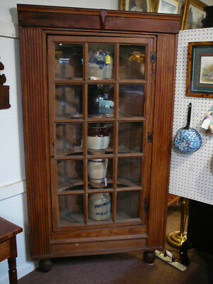 Antique Pine Corner Cupboard 15 Pane Door Bun Feet Rosebud Nail Porriger Shelves