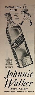 1934 Johnnie Walker Red Label Scotch Whisky Vintage Print Ad Paper
