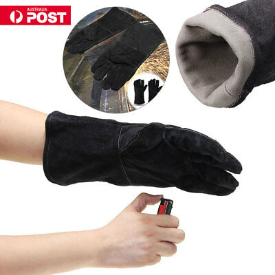 AU HEAVY DUTY Wood Burner Welding Heat Resistant Leather Glove Stoves Fire Black