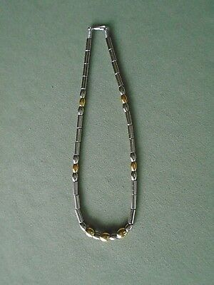 """17"""" 2 Tone Gold Silver Metal Tube Barrel Bead Strand Necklace Lanyard Clasp Coil"""