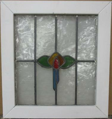 "MID SIZED OLD ENGLISH LEADED STAINED GLASS WINDOW Colorful Floral 21"" x 22.75"""