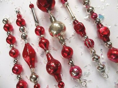 Festive Set of 6 ALL VINTAGE MERCURY GLASS Garland Bead ICICLE ORNAMENTS