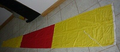 """Vintage Maritime Nautical signal flag Yellow and Red banner 112"""" x 21"""""""