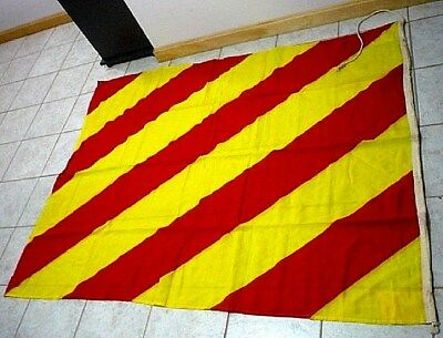 """Vintage Maritime Nautical signal flag 67"""" x 52"""" letter Y Red and Yellow stripes"""