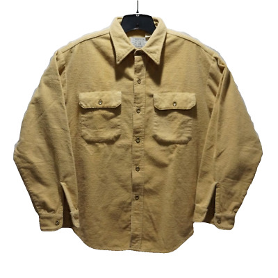 Vintage Mens Large  ORVIS Tan Flannel Long Sleeve Shirt Button Front
