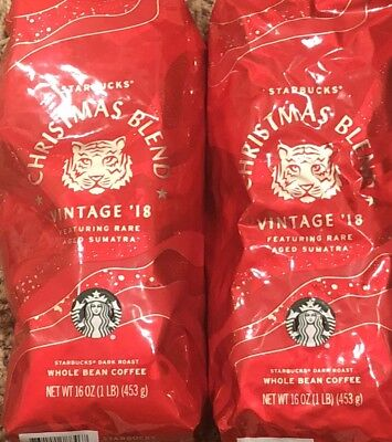 2 Bags Lot of Starbucks Christmas Blend VINTAGE 2018 Whole Bean Coffee