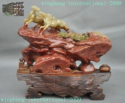 rare old Chinese natural Shoushan Stone Hand-Carved lucky animal 2 horse statue