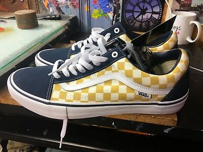 25b41f2d0063df Vans Old Skool PRO (Checkerboard) DRESS BLUE Yellow Size US 9.5 Men  VN000ZD4Q40