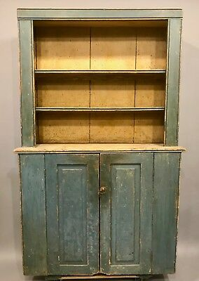 18th Century Stepback Cantback Cupboard in Original Blue Paint