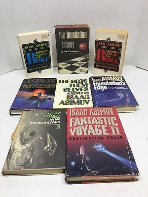 Isaac Asimov books lot of 8 Foundation Trilogy Foundations Edge Guide To Bible