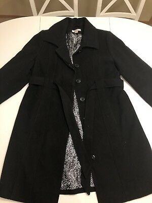 Motherhood Maternity Black Long Peacoat Jacket Large Coat