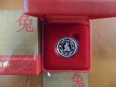 """2011 $1 Silver Proof Coin - Lunar Series: """"Year of the Rabbit."""""""