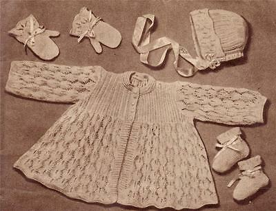 VINTAGE LACY LAYETTE SET- 2ply - 6 to 9 months - COPY baby knitting pattern