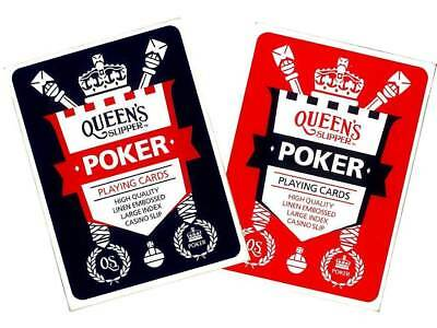 4 x Queen's Slipper POKER Playing Cards Deck Quality Casino Slip 2 RED + 2 BLUE