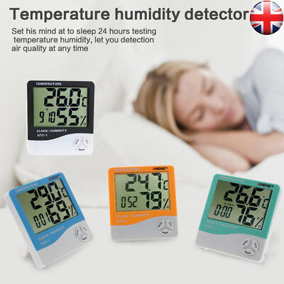 Digital LCD Thermometers Hygrometer Humidity Meter Room Indoor Temperature Clock